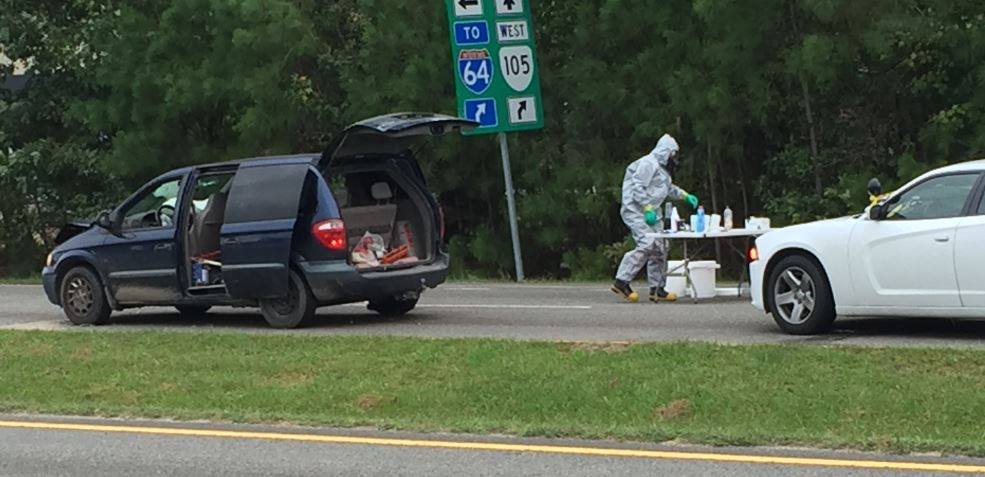 Police responded to a two-car crash on Route 17 Oct. 6 and noticed odors coming from one of the vehicles that were consistent with the manufacture of methamphetamine. Cleanup crews were dispatched to the scene. (Courtesy YPSO)