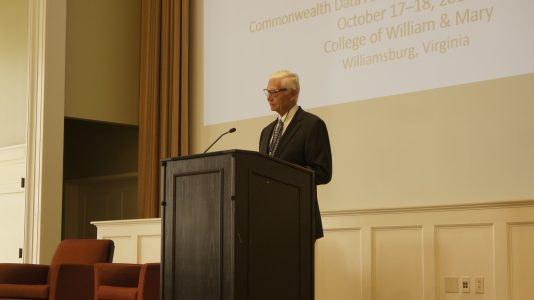 College of William & Mary President W. Taylor Reveley III addressing the conference before the Governor speaks.