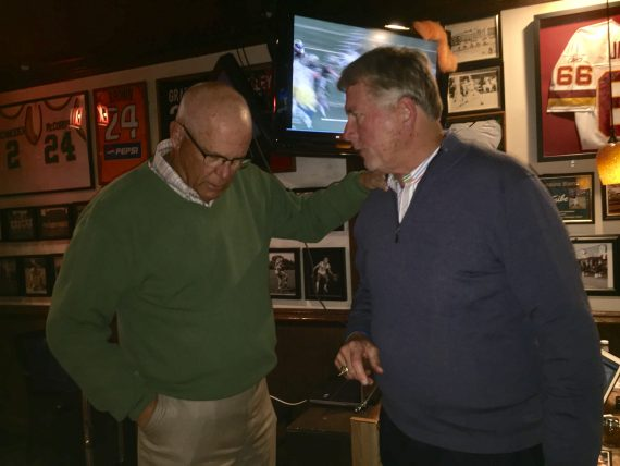 Jimmye Laycock reconnects with fraternity brother at Paul's Deli