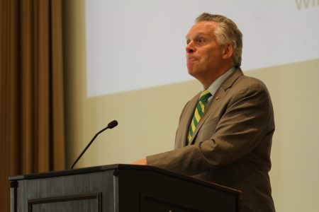 Gov. Terry McAuliffe pauses in-between thoughts on the future of Virginia's high-tech economy.
