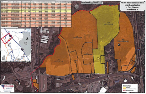 A map of the KingsLand USA property. (Courtesy Virginia Business Ready Site Program site characterization, as completed by York and James City Counties and acquired via a FOIA request.)