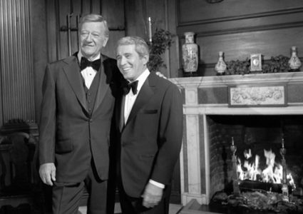 Perry Como and John Wayne in the Governor's Palace during filming of Como's Christmas special, November 1978. (Courtesy Colonial Williamsburg)