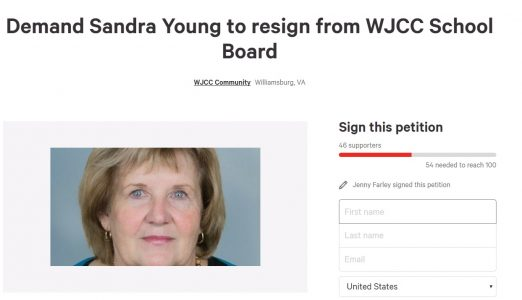 By 6 p.m. Monday night, 46 people had signed a petition circulating online to remove Sandra Young from her position on the WJCC School Board, less than 24 hours before Tuesday night's monthly School Board work session. (Screenshot, Change.org)