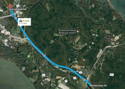 The week leading up to the new year will include lane closures and a shift in traffic patterns along a six-mile section of I-64 that runs from Busch Gardens to Lee Hall in Newport News. (Courtesy Google Maps)