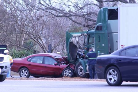 An image of the crash scene at the intersection of Richmond Road and Industrial Boulevard. taken around 10:15 a.m. Thursday. (Andrew Harris/WYDaily)