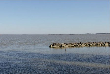 What the proposed Skiffes Creek project would look like from the East end of Jamestown Island looking Southeast, according to Dominion Power. Courtesy of Dominion Power.