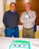Williamsburg Area Bicyclists members Wayne Hay (left) and Gary Smith (right) celebrating WAB's 19th birthday.