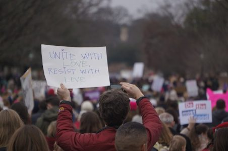 David Pape, a local engineer, said he thought there were more than one thousand protesters at the peak of the march. (Steve Roberts, Jr./WYDaily).