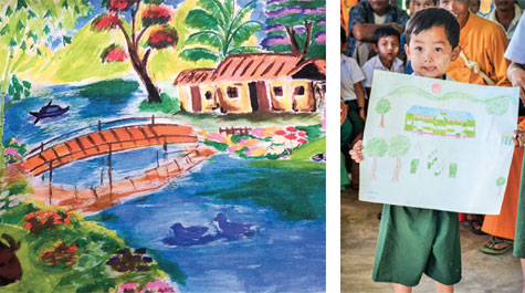 """Students created pictures based on what the word """"community"""" meant to them, then shared their work with other students at Global Playground sites around the world. (Photo courtesy of Global Playground)"""