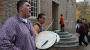 American Indian musicians marked the 2013 rededication of the Brafferton, a building that once was the venue for William & Mary's Indian School. Organizers of the new native studies minor hope the program will strengthen the university's connections to native peoples. (Photo by Skip Rowland)