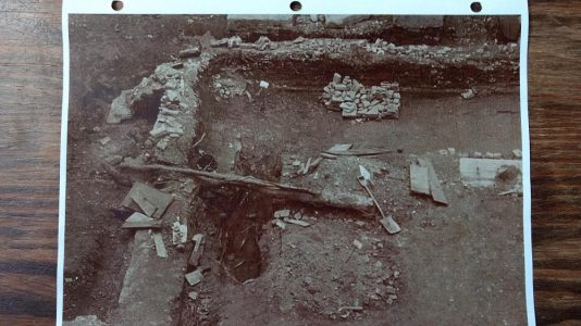 A photo taken by the APVA during the excavation into Jamestown's churches in the early 20th century. (Courtesy The Valentine museum)