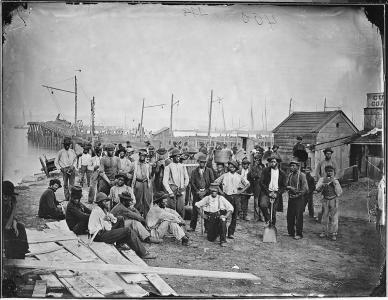 African American laborers near a coal wharf in Alexandria. (Courtesy U.S. National Archives)