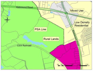 The current zoning of the area around the Taylor family property is shown in a Board of Supervisors agenda document. (Courtesy James City County Planning Department)