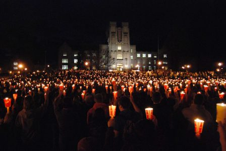 Remembering the 32 - a candlelight vigil outside Virginia Tech's Burruss Hall, two years after the tragic mass shooting. (file photo)