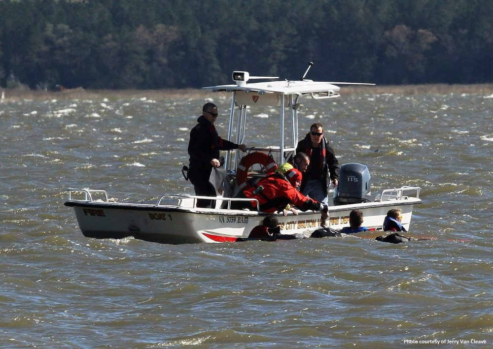 crews from the James City-Bruton Volunteer and James City County Fire Department were assisted by several regional partners to locate and rescue six persons from the waters of the York River after an adventure racing group of about 30 members called to report several kayaks had capsized near Croaker Landing