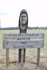 A directional sign on the Pamunkey Indian Reservation. Photo courtesy Ben Swenson