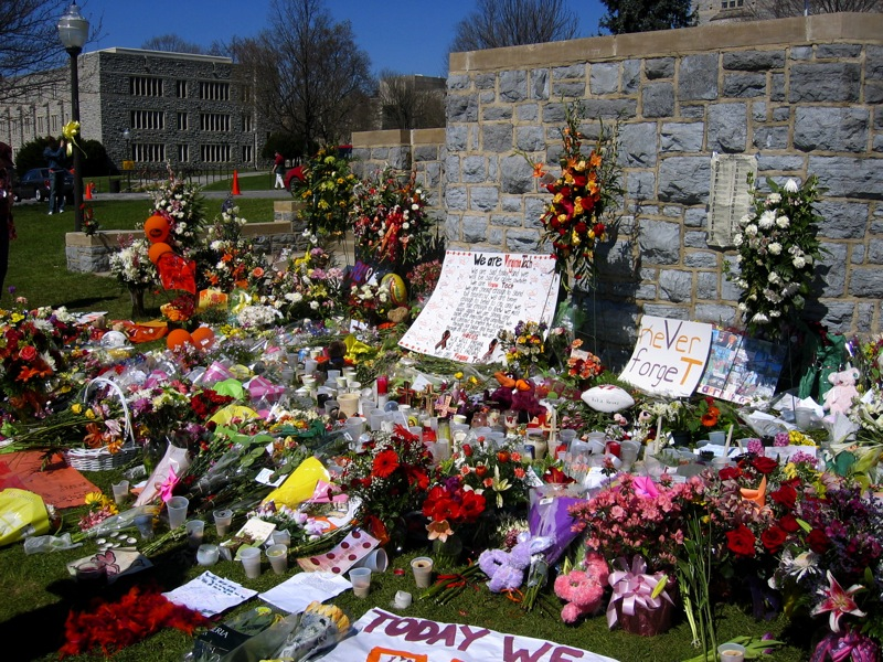 A memorial on the drillfield placed after the Virginia Tech massacre. (Courtesy Wikimedia Commons)