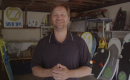 Glen Duff, founder and inventor of Zup Watersports Boards, in his garage where he worked on his product's design. (Courtesy Zup.com)