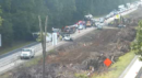 All lanes of I-64 west were closed near Humelsine Parkway in York County Thursday morning due to an overturned tractor-trailer. (Courtesy VDOT)