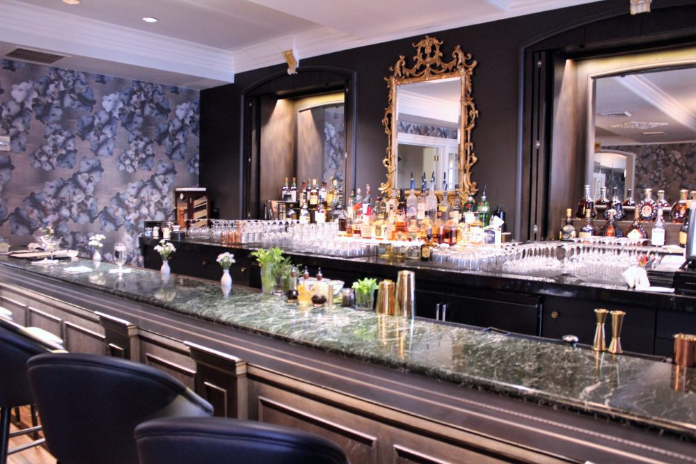 The Renovated Bar In The Terrace Room Features New Lighting, Drapery,  Wallpaper And Glassware. The Bar, Floor And Windows Remain Undisturbed.