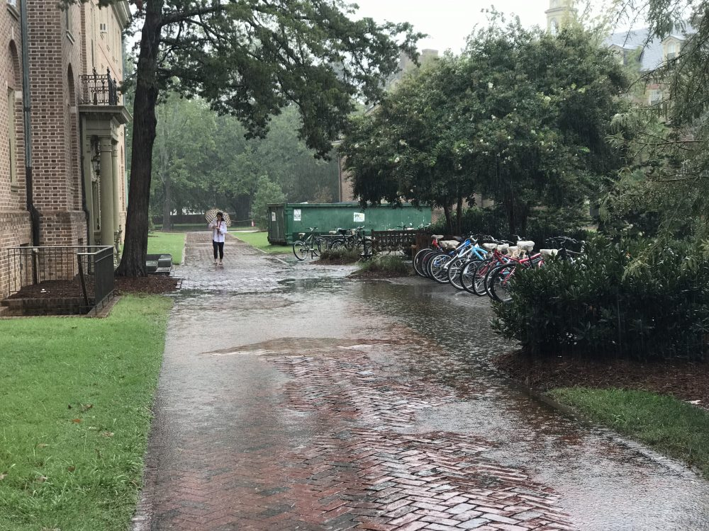 William & Mary students walk in the rain during a tropic cyclone in August 2017. (WYDaily/File photo)