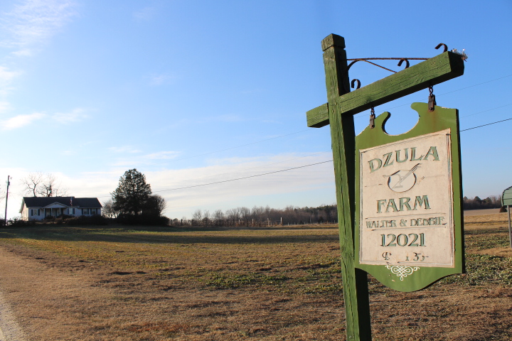 Nestled a few hundred feet back from Route 30 in Toano, the Dzula farmhouse sits atop a rolling hill, flanked by aging trees, several large farm fields and several barns. (Sarah Fearing/WYDaily)