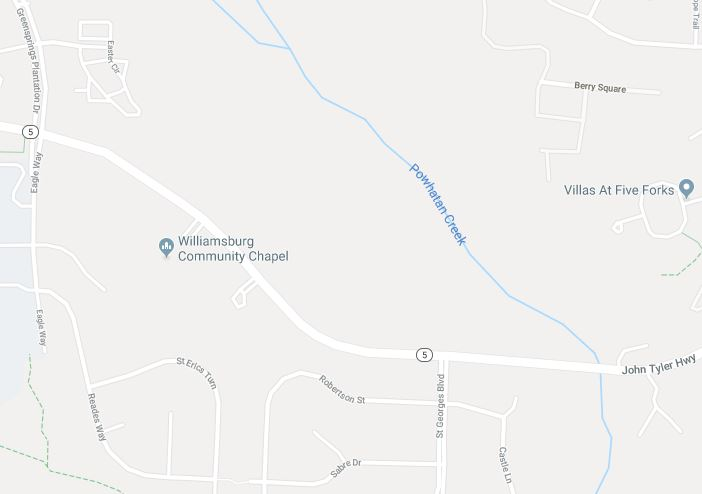 The crash happened on John Tyler Highway around 11 a.m. Thursday. (WYDaily/Courtesy Google Maps)