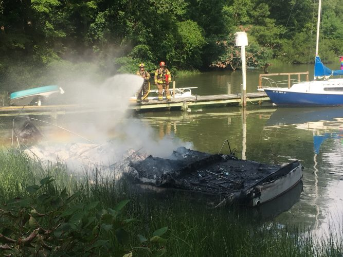 Crews respond to a boat fire Friday, July 13, 2018, in the Marlbank subdivision in York County. The boat was a total loss. (WYDaily/Courtesy York County Fire and Life Safety)