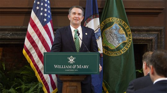 Virginia Gov. Ralph Northam delivers his remarks before swearing in Katherine A. Rowe as the new president of William & Mary on July 2, 2018, in the Great Hall of the Wren Building. (WYDaily/Bryan DeVasher)