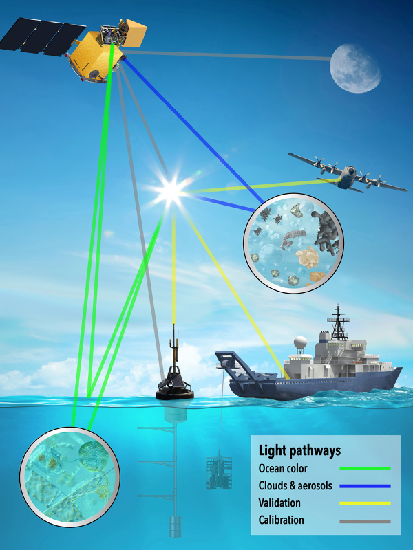 Depiction of how ocean color, clouds and aerosols information will be collected by the PACE satellite. In-water and airborne instruments will be employed to validate PACE data. Calibration of satellite sensors will involve using the Sun, moon, and ocean buoys as reference sources. (WYDaily/VIMS/NASA)
