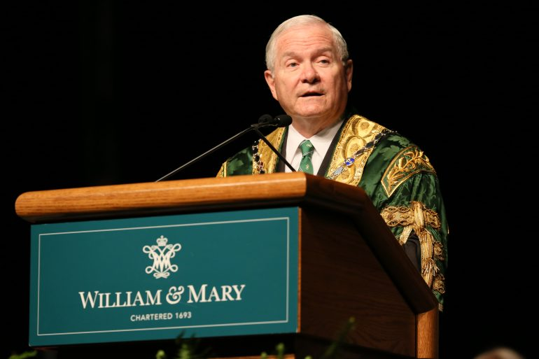 William & Mary Chancellor Robert M. Gates '65, L.H.D. '98, a former U.S. secretary of defense and CIA director, will discuss his personal journey as a public servant, lessons from the past that can inform present-day foreign policy and the future of U.S. leadership in a rapidly changing world. (WYDaily/Courtesy of Stephen Salpukas)