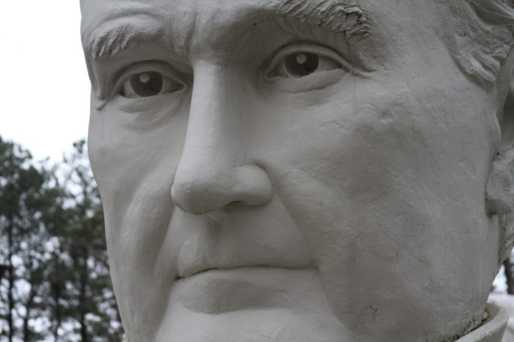 The 43, 18-foot president statues currently reside at Howard Hankins' property in Croaker. But they might not stay there for long. (WYDaily/Courtesy Flickr)