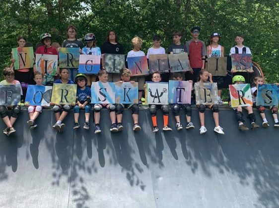 This summer's Beginner Skate Clinics are just the beginning. Pictured here are the kids from TSA's skate camp in Gloucester, where skateboarding was matched with arts, crafts and community service projects, and Pfannebecker said he wants to bring a similar event to James City County as soon as he can. (WYDaily Photo/Max Pfannebecker)