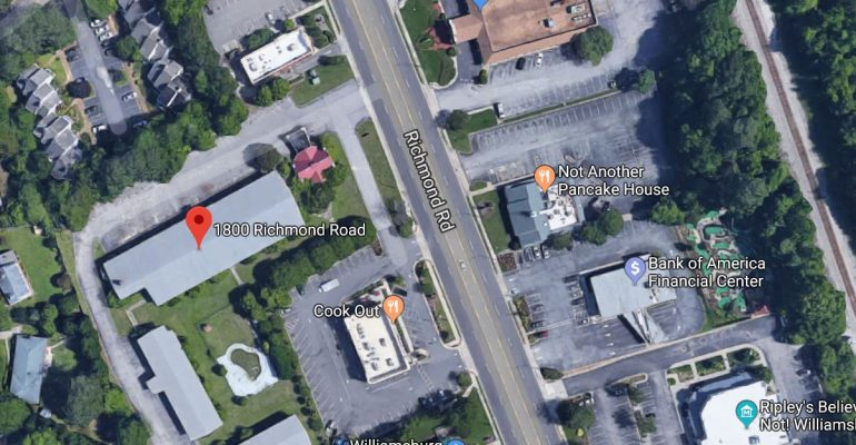 The Williamsburg EDA has approved a grant that will contribute to the demolition of 1800 Richmond Road. (WYDaily/Google Maps)