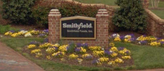 Screenshot of Smithfield Foods' headquarters sign in Smithfield, VA. (WYDaily/ Courtesy of Google Maps)