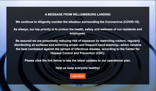 Screenshot of the Williamsburg Landing's website. (WYDaily/ Courtesy of Williamsburg Landing)
