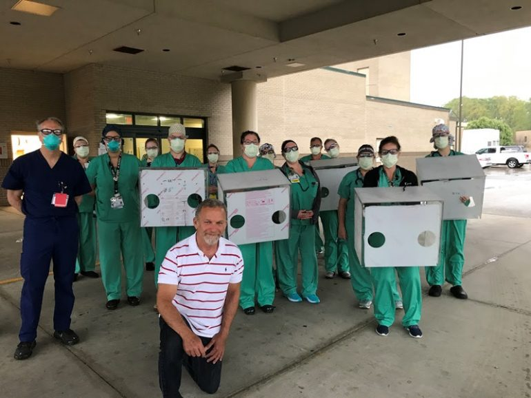 A mechanical engineer from Jefferson Lab has built intubation boxes to help protect staff from patient's using ventilators during the coronavirus (COVID-19). (WYDaily/ Courtesy of Riverside)