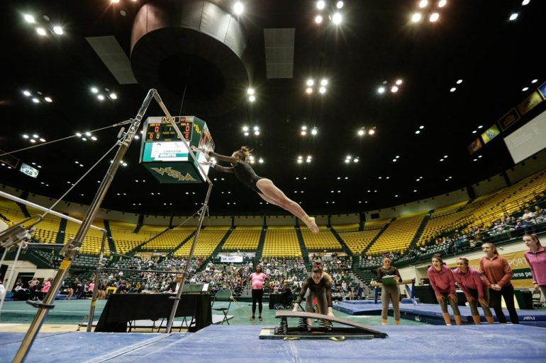 Seven W&M sports program would be cut starting in the 2021-2022 year: Men's and women's gymnastics; men's and women's swimming; men's indoor and outdoor track & field; and women's volleyball. Pictured is Mary Graceyn Gordon, 2020. (WYDaily/Courtesy of Tribe Athletics)