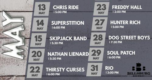 La programación de música en vivo en Billsburg Brewery en mayo (Cortesía de Billsburg Brewery)