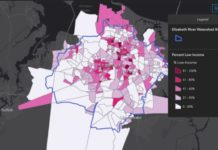 The new online tool uses social and environmental data sets to allow for holistic consideration of socio-environmental settings within the Elizabeth River watershed. ERP E.J. Tool. (Courtesy of VIMS.)